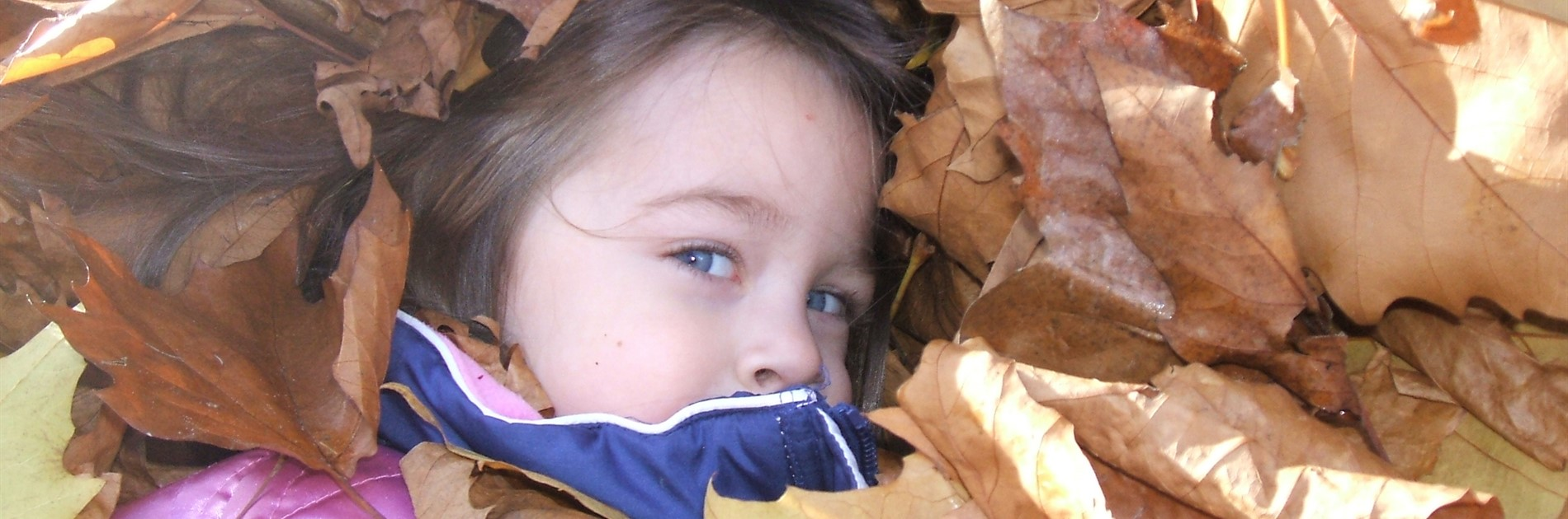 Young girl hiding in leaves